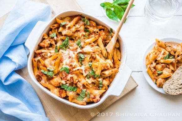 Easy Chicken and Mushroom pasta Bake