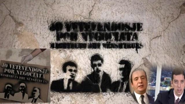 """Grafiti sa likovima Kurtija, Đurića i Svečlje osvanuli u Lipljanu: """"Prevaranti i podvale!"""