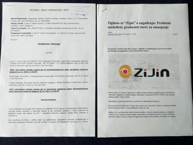Krivične prijave zbog zagađenja u Boru protiv direktora Ziđina, gradonačelnika i ministra Trivana