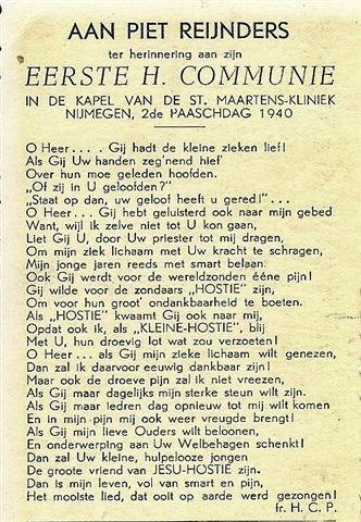 Prentje Uit 1940 Bij De 1e Communie Van Piet Reijnders In