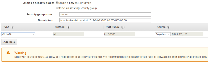 Create an open security group for setting up an Apache Hadoop Cluster