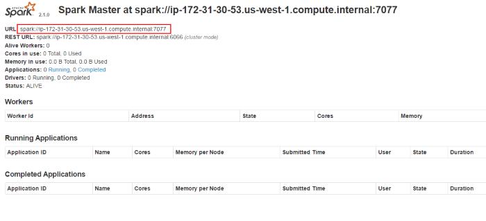 Apache Spark Master Node