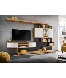 meuble tv design mural bois et blanc