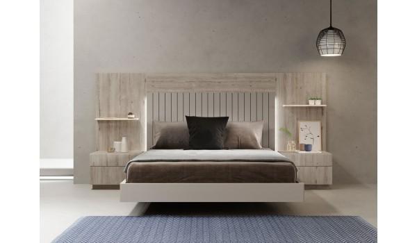 lit adulte design avec chevets tete de lit a led