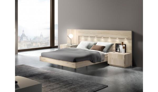 lit adulte avec chevets tete de lit eclairee