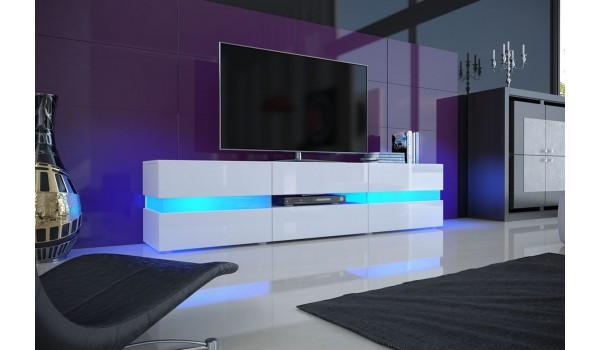 meuble tv design blanc laque eclairage led