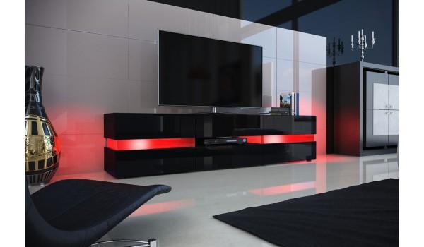 Meuble TV Design Noir Laqu Clairage LED Pour Salon