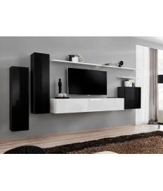meuble tv mural design noir blanc