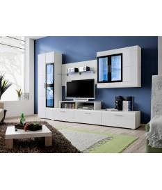 meuble tv blanc laque led