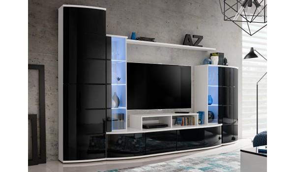 ensemble de meuble tv design blanc et noir laque