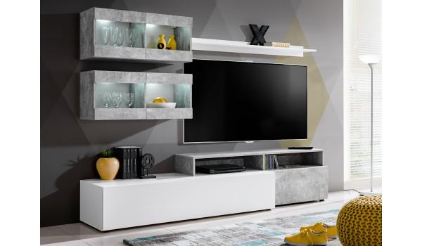 meuble tele mural design blanc beton pas cher