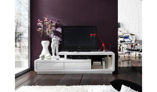 meuble tv laque design blanc ou blanc gris
