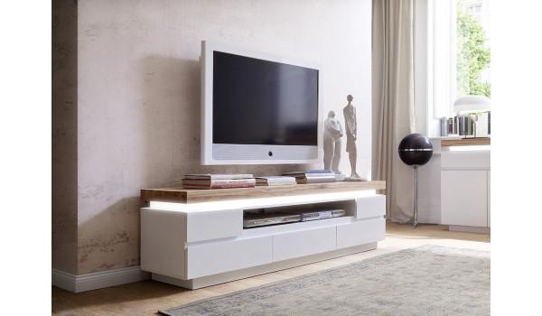 meuble tv bois massif et blanc laque mat