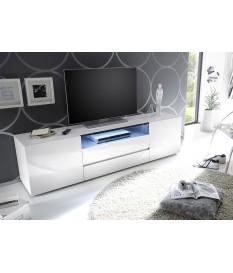 meuble tv 185 cm blanc laque design led