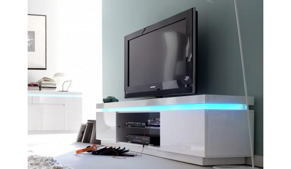 meuble tv blanc laque 2 portes led rgb