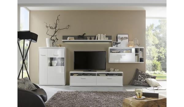 meuble tv design lumineux blanc laque