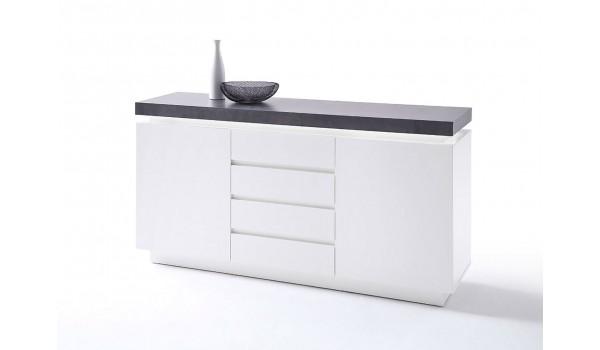 buffet 150 cm gris et blanc laque