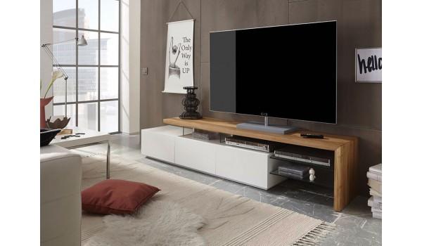 meuble tv design bois et blanc