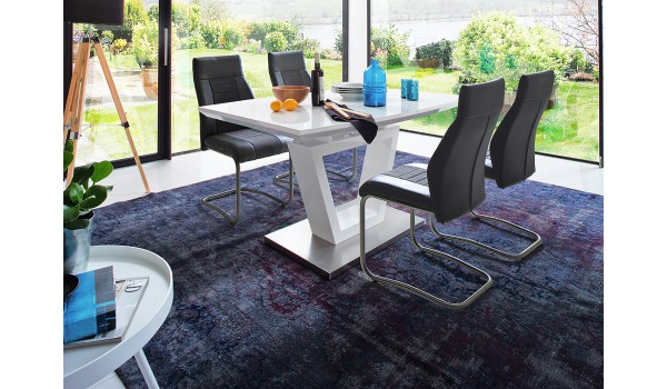 table a manger design blanche laquee
