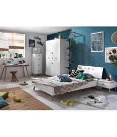 chambre ado moderne blanche et bois
