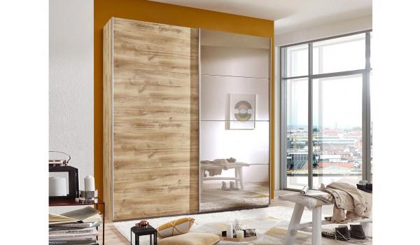 armoire dressing bois et miroir