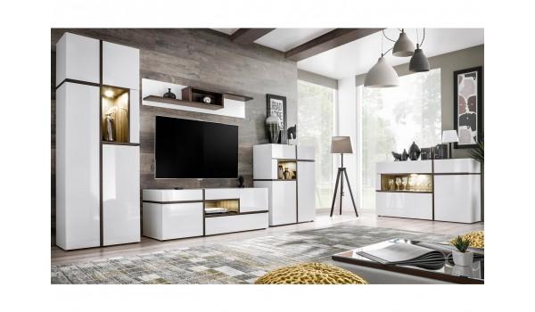 meuble salon complet design blanc bois