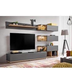 meuble tv design led gris bois