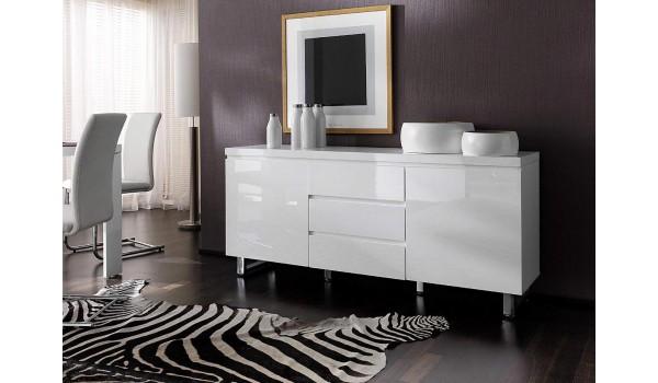 buffet blanc laque design pied chrome