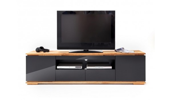meuble tv noir et bois design