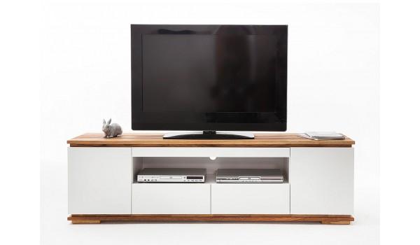 meuble tv blanc et bois massif