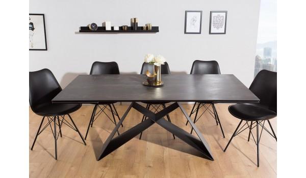 table contemporaine gris lave et pied design noir metal