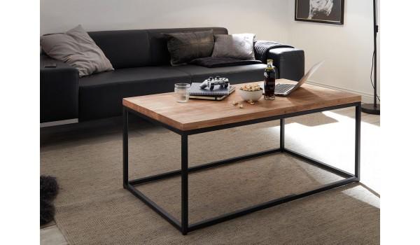 table basse rectangulaire bois et metal noir