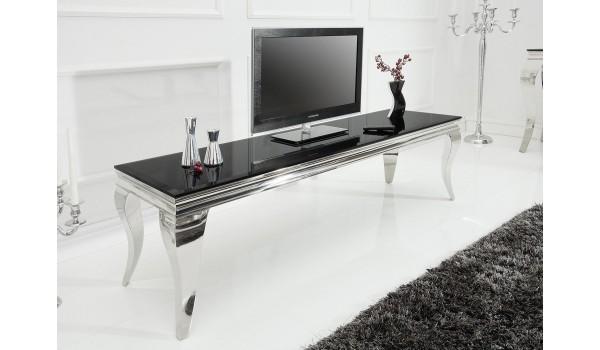 meuble tv baroque noir et metal chrome 160 cm