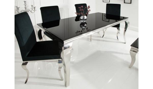 table de salle a manger baroque noire et metal chrome