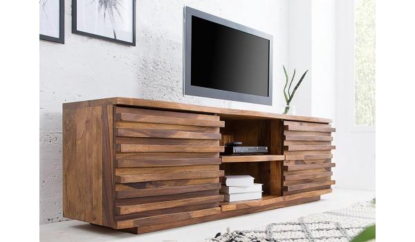 meuble tv bois 150 cm sesham massif verni