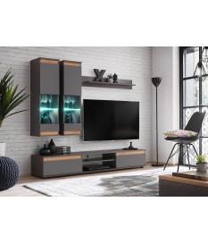 meuble tv et vitrine murale gris bois