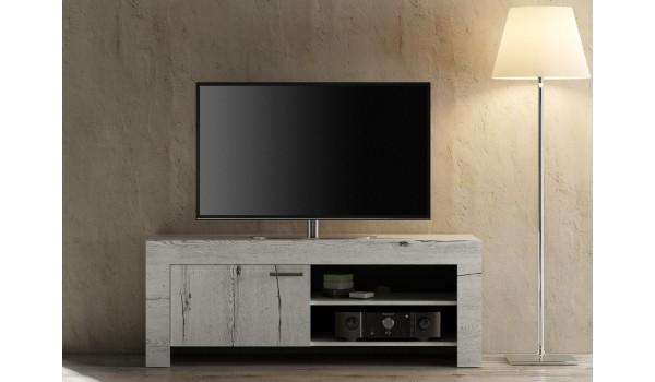 meuble tv deco chene blanc 140 cm