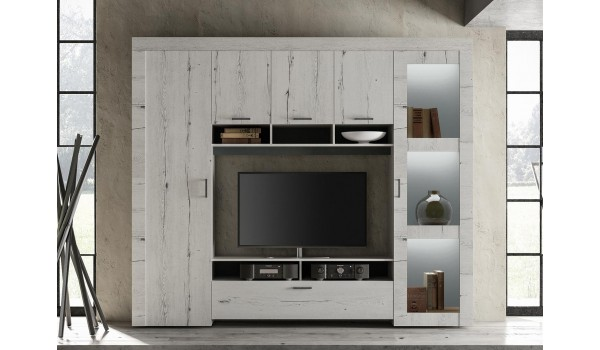meuble tv living deco chene blanc