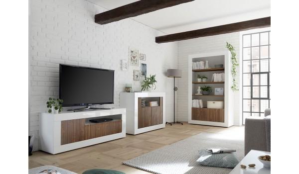 salon complet blanc bois meuble tv commode bibliotheque etagere
