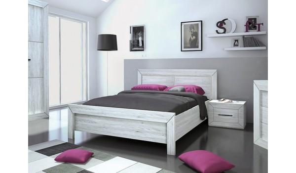 lit 2 places avec tete de lit et tetieres lumineuses