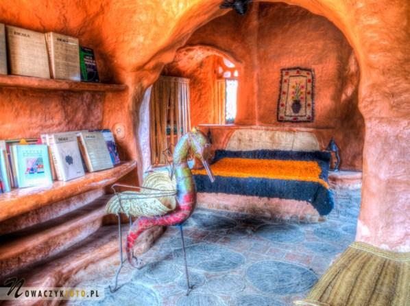 Gliniany domek - sypialnia, Villa de Leyva, podróż Kolumbia