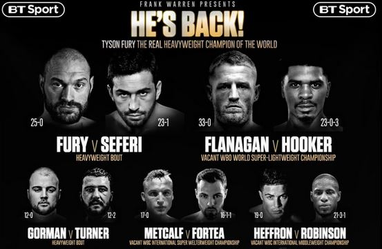 Watch Tyson Fury vs Sefer Seferi, Terry Flanagan vs Maurice Hooker Live Stream on BT Sport