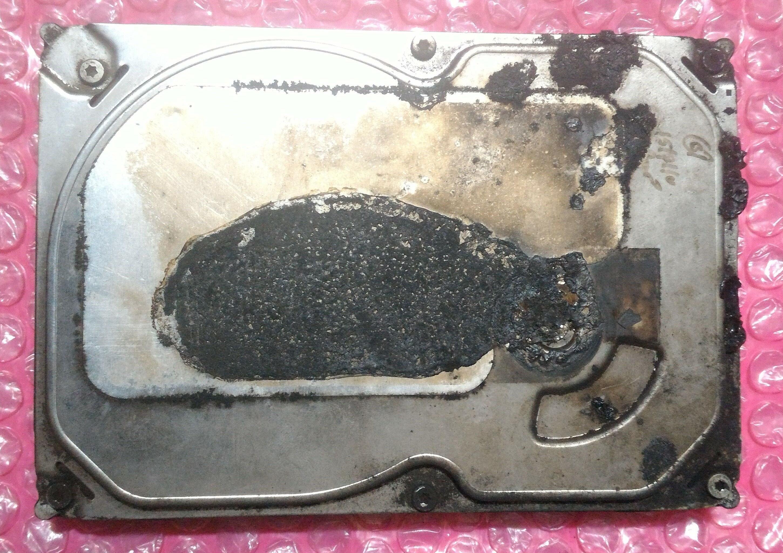 Burnt-fire-damaged-hard-drive-frontside