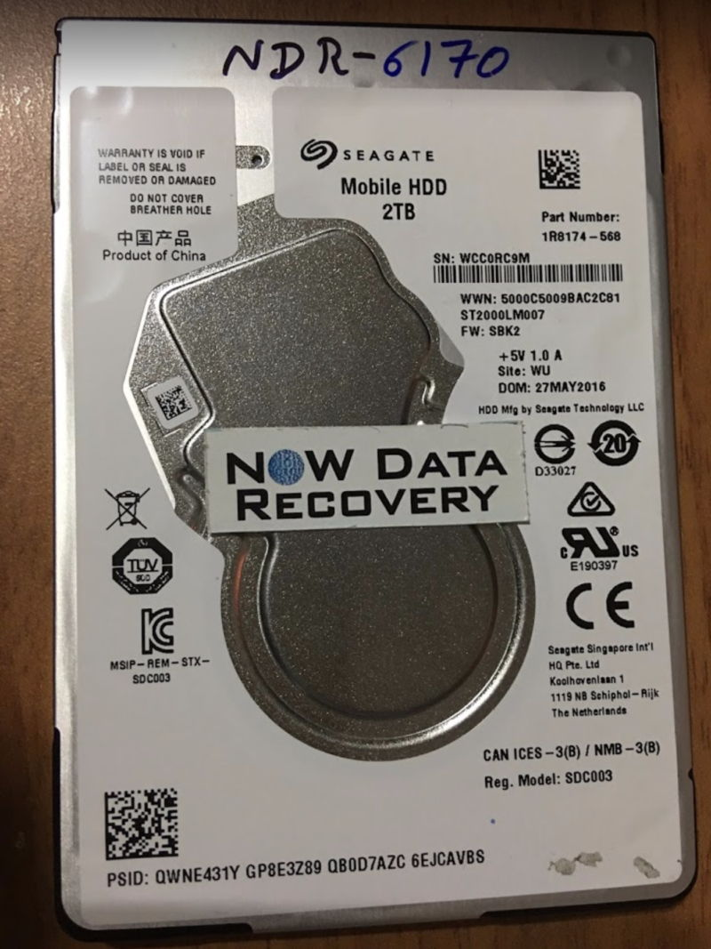 Seagate 2 TB USB backup plus mobile HDD data recovery - ST2000LM007 SBK2