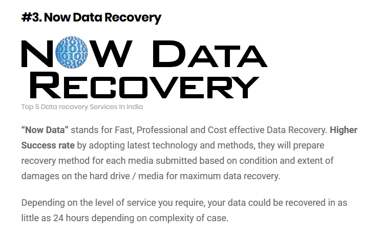 Top 5 Data Recovery companies in India