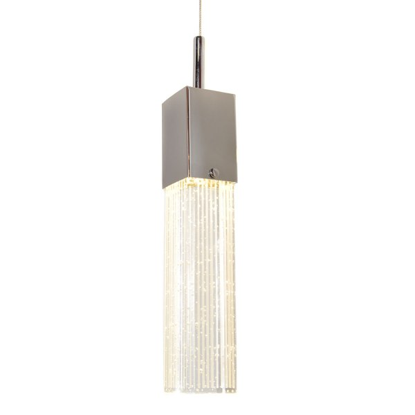 NowLighting com Offers  ET2 Lighting ET 132749 Lighting Polished         ET2 Contemporary Lighting   Fizz III Single Pendant in Polished Chrome  with Etched Bubble Glass