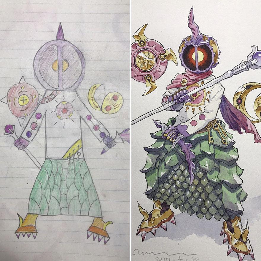 150295886290557 - 插畫家老爸把「兒子塗鴉的怪獸」重新畫一次,網友看到作品後大讚:「有神快拜!」