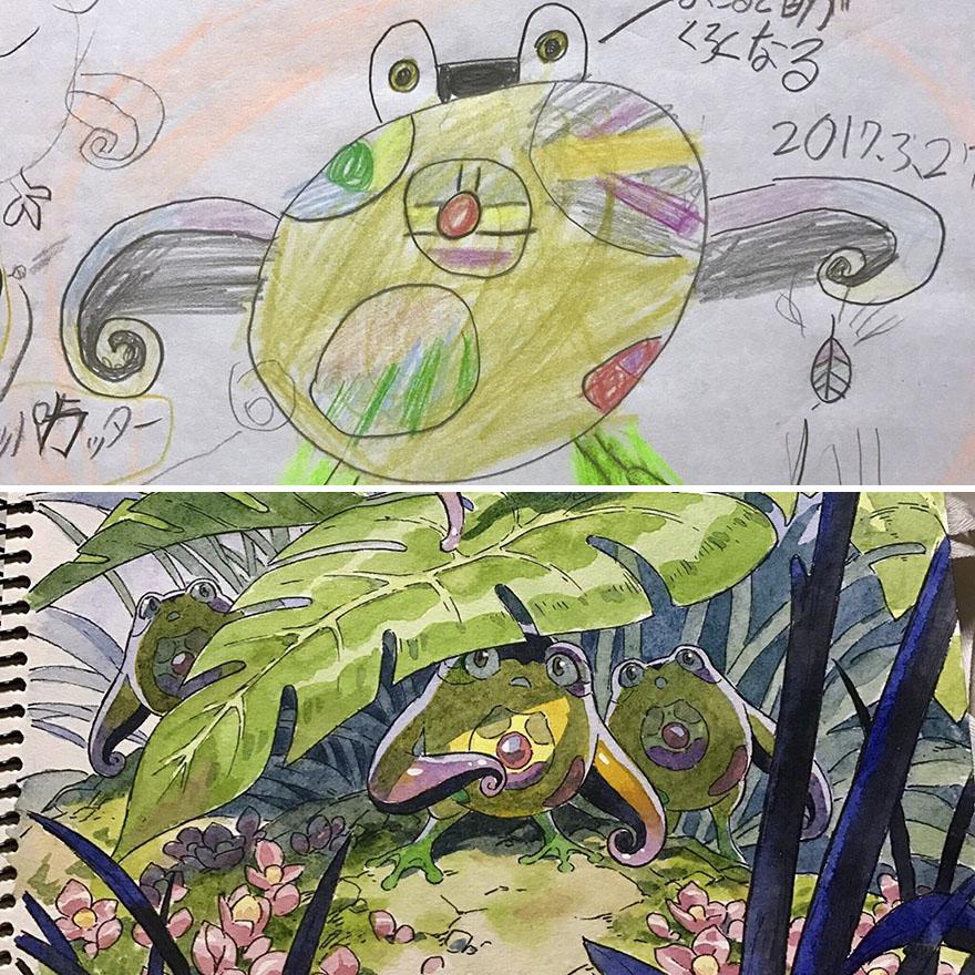 150295886327549 - 插畫家老爸把「兒子塗鴉的怪獸」重新畫一次,網友看到作品後大讚:「有神快拜!」