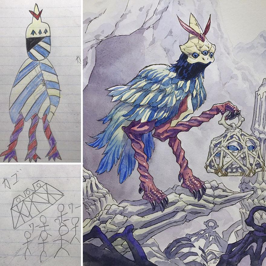 150295886350095 - 插畫家老爸把「兒子塗鴉的怪獸」重新畫一次,網友看到作品後大讚:「有神快拜!」