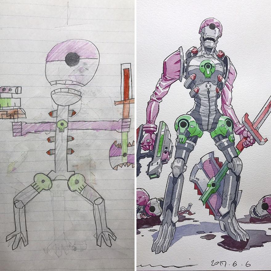150295886483106 - 插畫家老爸把「兒子塗鴉的怪獸」重新畫一次,網友看到作品後大讚:「有神快拜!」